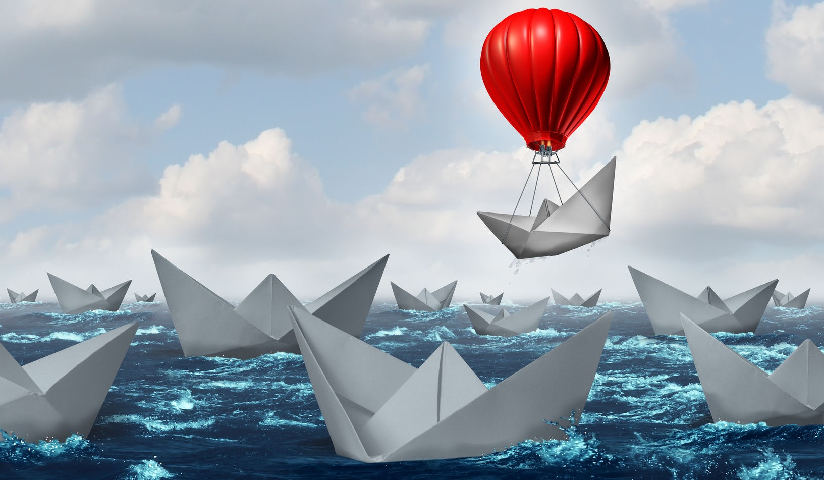 41506713 - business advantage concept and game changer symbol as an ocean with a crowd of paper boats and one boat rises above the rest with the help of a red hot air balloon as a success and innovation metaphor for new thinking.