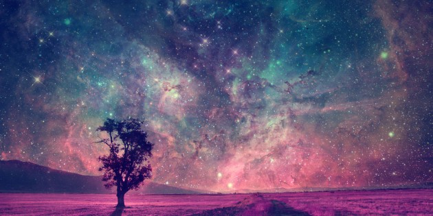 43320898 - red alien landscape with alone tree silhouette in purple field- elements of this image are furnished by nasa