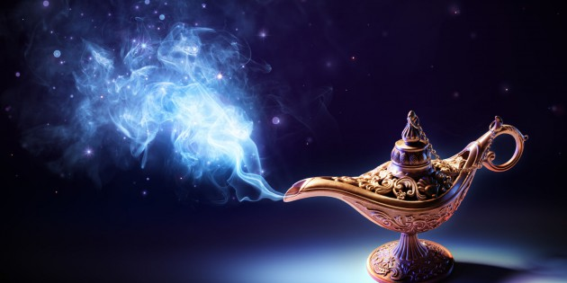 52853250 - lamp of wishes - magic smoke coming out of the bottle